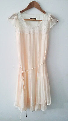 New Women Summer Cream Lace Neckline pleated Party dress Size XS/S UK 8