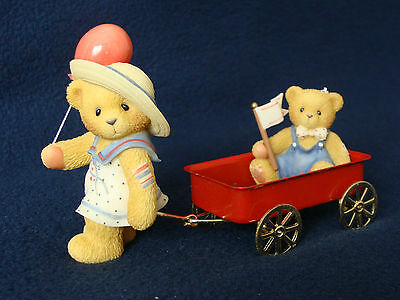 Cherished Teddies - Letty -Girl Pulling Red Wagon and Child-1999 Membears- CT993