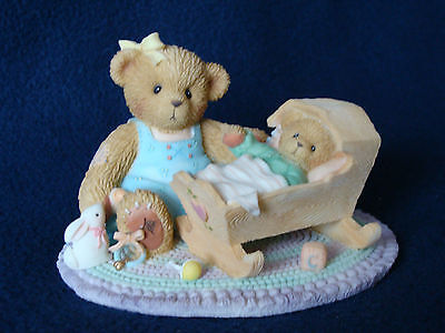 Cherished Teddies - Margo And Baby - Mom/Baby/Cradle Figurine - Carlton - 113954