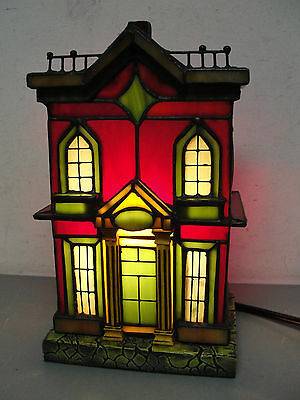 Stained Glass Victorian House Home Night Light Lighted Table Accent Mood Lamp