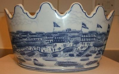 Chinese Blue & White Monteith  Bowl Landscape Scene Shanghai Harbour Boats Etc.
