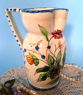 "Majolica Italian Art Deco Hand Painted Floral 7"" Art Pottery Pitcher Jug c1920s"