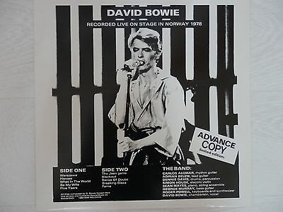 """David Bowie-Live On Stage In Norway 1978. Rare 1984 Release. 12"""" Vinyl Lp Record"""