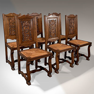 Antique Oak Set of 6 French Kitchen Dining Chairs Quality Rush Seats c1910