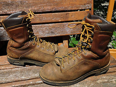 """Danner Quarry 8"""" Brown Leather Work Boots Size 11 D"""