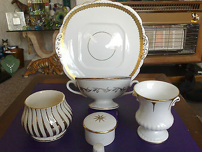 Assorted 5 Piece White And Gold Bone China Royal Vale/sadler