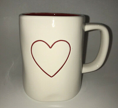 Rae Dunn Double-Sided Heart Mug with Red Interior Valentine