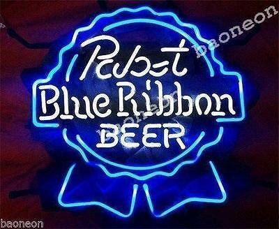 New HANDCRAFTED PABST BLUE RIBBON PBR REAL NEON SIGN BAR GARAGE LIGHT MAN CAVE