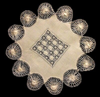 Old Vintage Traditional Tenerife Lace Decorated Linen Doily, Centerpiece