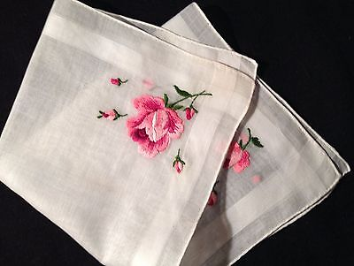 """Hand Embroidered Red Rose Lovely Woven Hem Bridal Handkerchief, 12"""" x 12"""""""