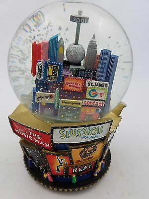New York Musical Snow Globe Broadway, Twin Towers 2001 Super Clean! Free Ship!