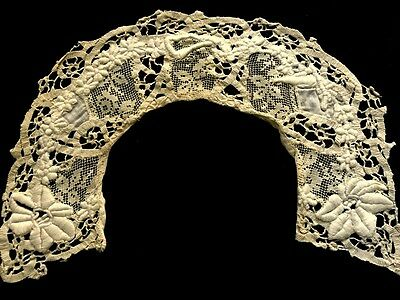 Antique Normandy Lace Style Collar Padded Embroidery, Bobbin & Darning Laces