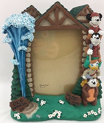 Disney Wilderness Lodge 5x7 Picture Frame Mickey Friends Totem Pole Old Faithful