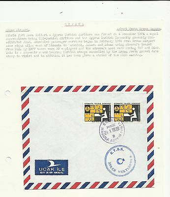 Cyprus 1975 Ercan airport cover written up