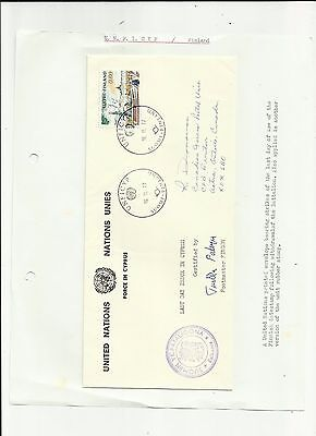 Cyprus 1977 last day Finnish forces cover signed written up