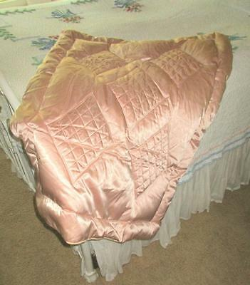 Vintage 30s Hollywood Glam Liquid Satin Down Fill Throw Quilt Blanket Shell Pink