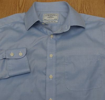 Charles Tyrwhitt Mens L/s Non Iron Extra Slim Fit Button Front Shirt 16 34  Blue