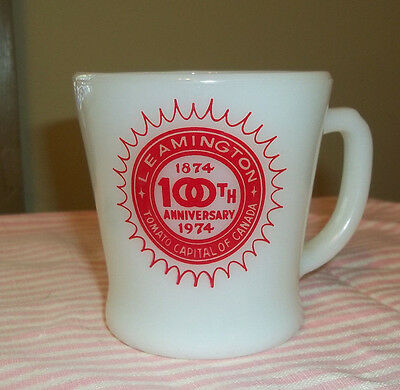 Fire King D Handle Souvenir Mug Leamington Ont. 100 Years 1874-1974