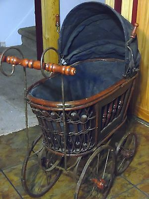 ATQ/VTG Baby Doll Pram Rattan Wicker Wood Metal Victorian Style Carriage Buggy*