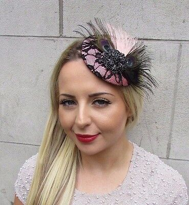 Black Blush Light Pink Feather Fascinator Pillbox Hat Clip Races Wedding 3216