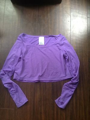 Lululemon ivivva girls purple ls crop top size 12-14