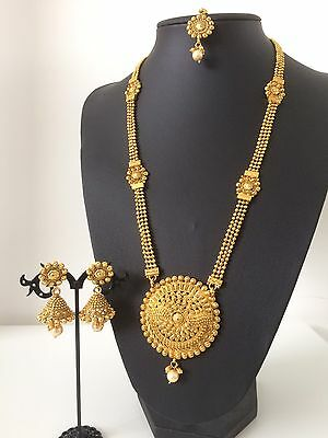 New Indian Imitation Jewellery/ Party/ Bridal/ Long Gold Pearl Set