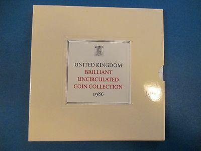 Britain 1986 UK Mint Set Uncirculated 8 Coins (1 & 2 Pound 50,20,10,5,2,1 Pence)