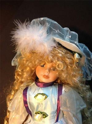 Bisque Porcelain dolls Curly hair great  BLUE dress costume with shoes hat Stand