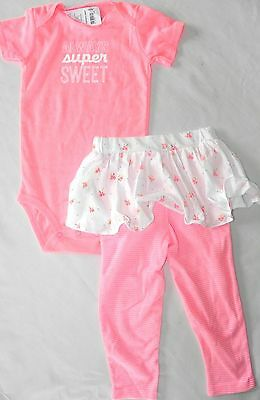 New Nwt Girls 24 Months Carters 2 Piece Coral Tutu Skirt Leggings & Bodysuit Set