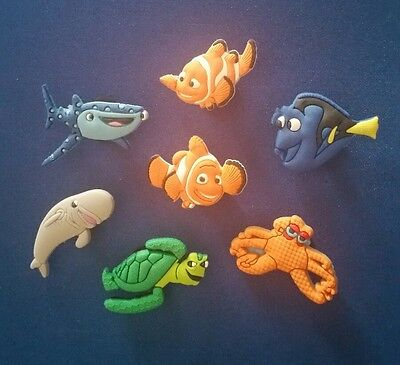 7 Pc Finding Dory Nemo Shoe Charms Jibbitz Cake Toppers Party Favors Wristbands
