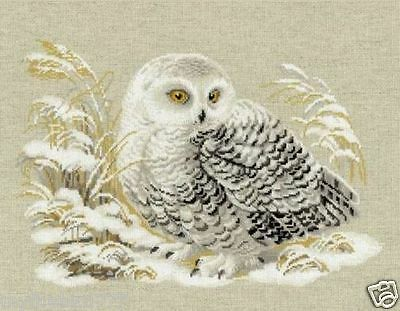 NEW UNOPENED Russian Counted Cross Stitch KIT Riolis 1241 White Owl Bird