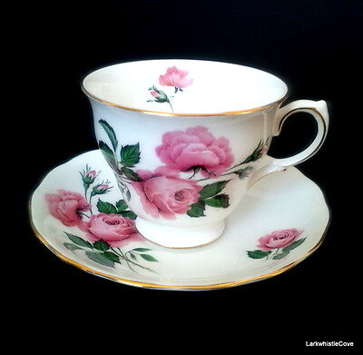 Queen Anne Large Pink Cabbage Rose Teacup & Saucer Pink Roses Tea Cup & Saucer