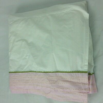 Pottery Barn Kids Nursery Crib Skirt Pink Green dust ruffle