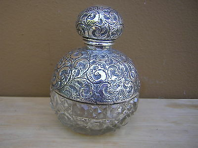 Big Antique Vintage Ornate English Sterling Silver Overlay Perfume Scent Bottle