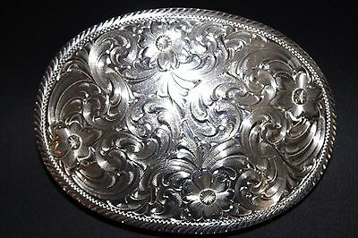 Montana Silversmiths Men's Oval Engraved Western Belt Buckle Silver One Size
