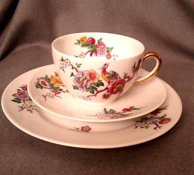 B & C LIMOGES L BERNAUDAUD BENGALI BIRD TRIO TEA CUP & SAUCER & PLATE - Antique