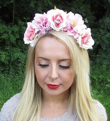 Grey Blush Light Pink Rose Flower Garland Headband Hair Crown Band Festival 5372