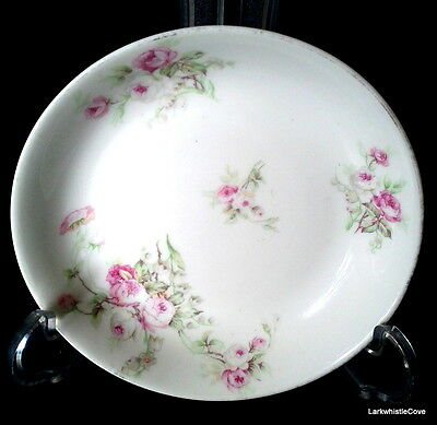 "Limoges SM Elite Works 1896-1920 Pink Roses Green Leaf 5 1/8"" Fruit Nappy Bowl"