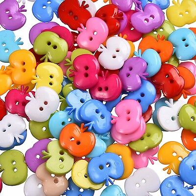 50 Mixed color Resin Apple shape Sewing buttons Scrapbooking decoration 13mm