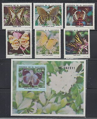 El Salvador 1990 Butterflies Sc 1256-1262 Complete mint never hinged