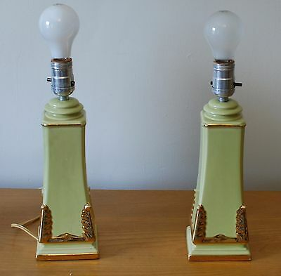 Vintage pair mid century modern green ceramic lamps lights with gold accents