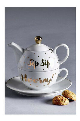 NEXT Porcelain Tea For One Teapot Gold Lettering Sip Sip Hooray Gift Present