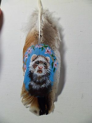 FERRET IN FLOWERS- Hand painted rare turkey feather, by artist W. W. Hoffert