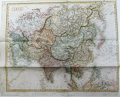 Asia China Tartary Russia Persia Tibet Hindustan c.1840 old antique color map