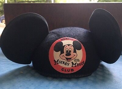 Vintage Disney Mickey Mouse Club Mouseketeers Hat Felt Ears Original
