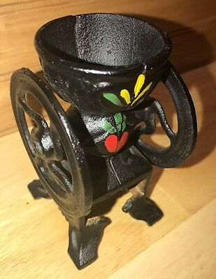 Vintage Miniature Cast Iron Coffee Grinder Floral Paint Home Decor House Weight