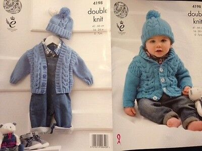 Knitting Pattern King Cole 4198  Cardigan Hat Cable  DK  Baby - 7 years New