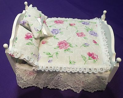 12th SCALE DOUBLE BEDSET PINK & PURPLE ROSES ON BEIGE