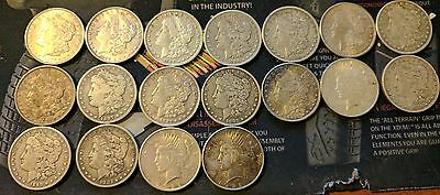 Morgan Silver Dollar Lot 18 Coins w/ Peace Dollars mixed in *NICE*