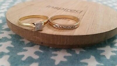 18ct Engagement ring and 9ct wedding ring